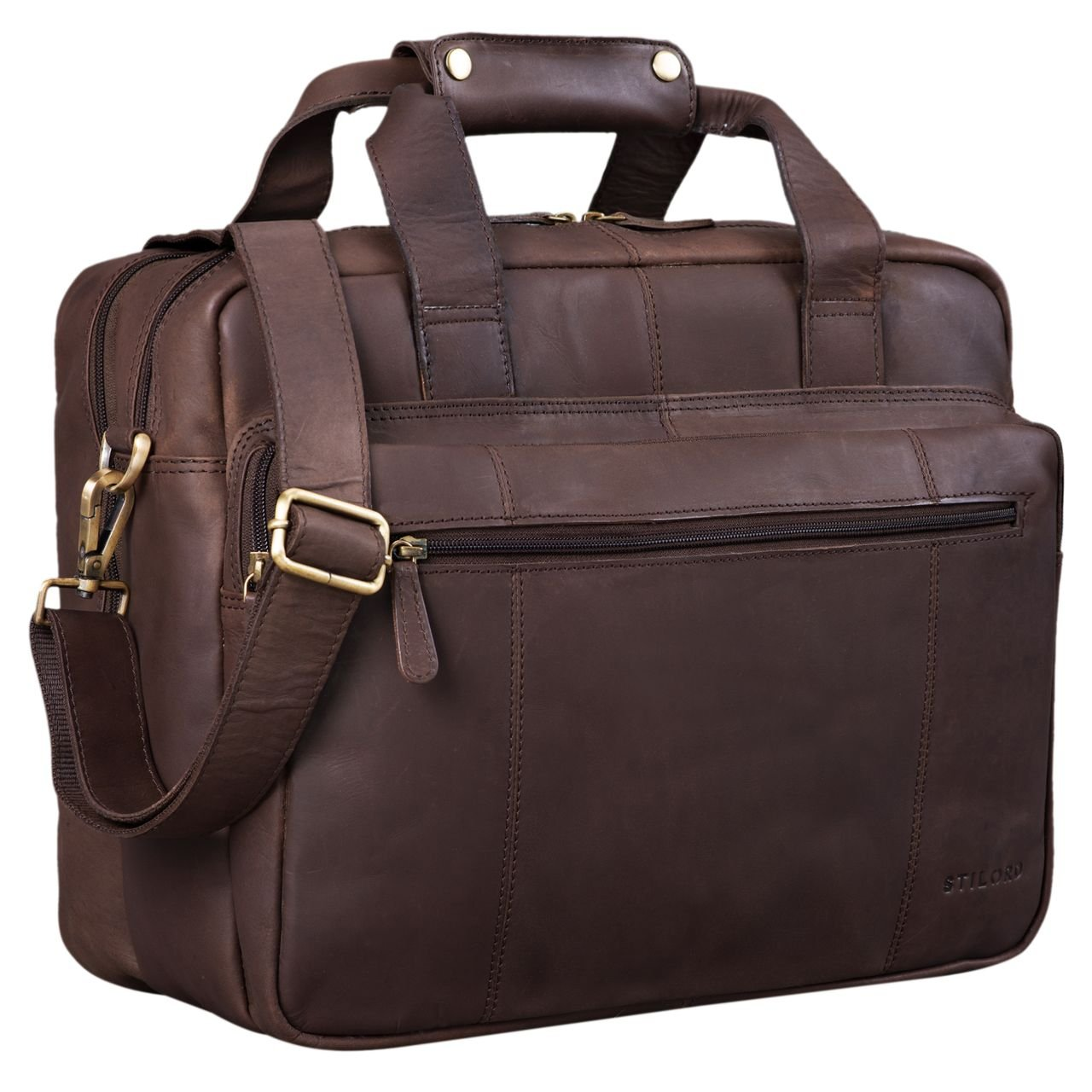 STILORD 'Experience' Vintage Lehrertasche Leder groß für Herren Damen XL Aktentasche Business Schulter- oder Umhängetasche für Laptop Trolley aufsteckbar, Farbe:matt - Dunkelbraun