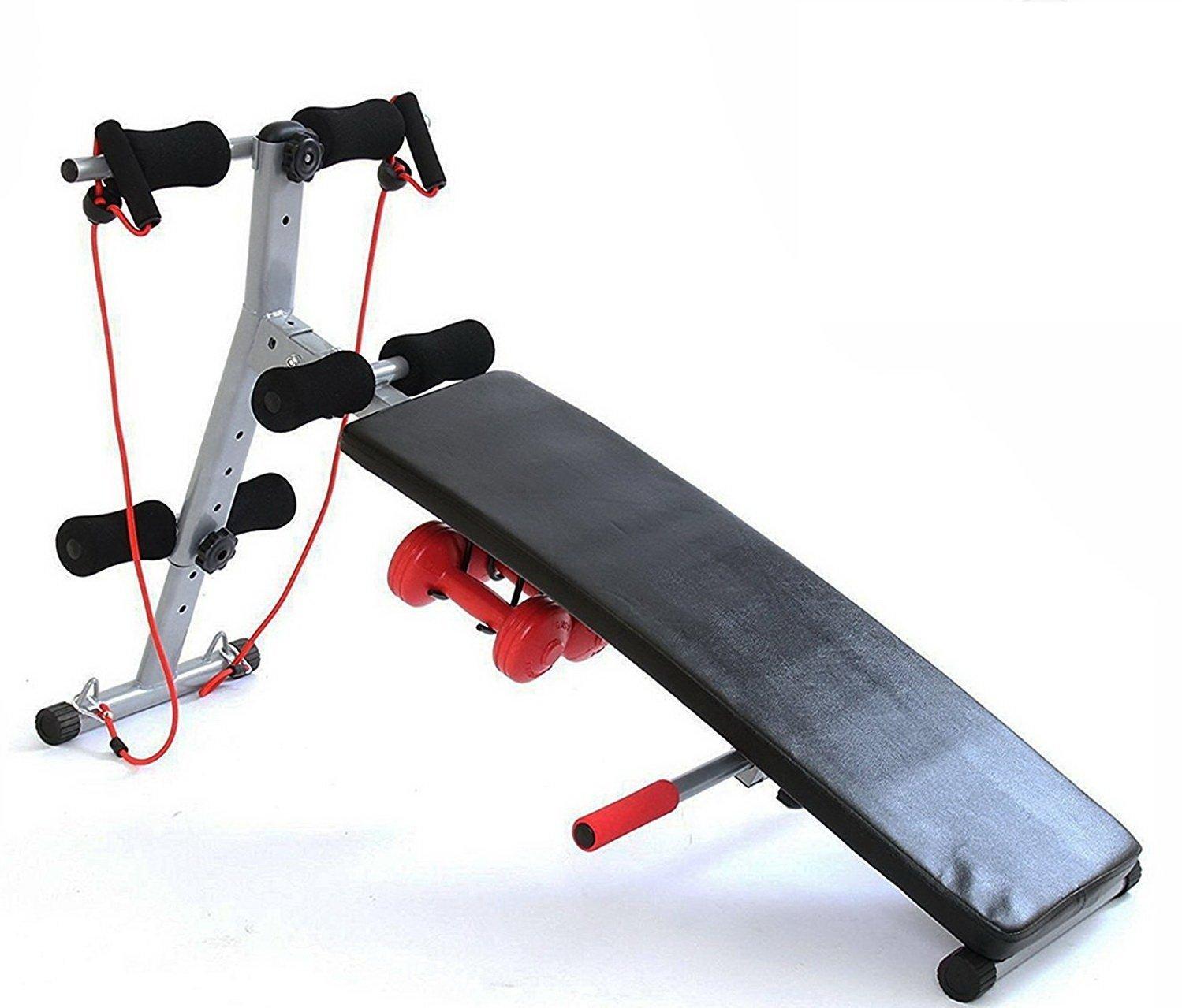 GYM MASTER Fitness plegable ajustable banco de pesas Ejercicio Core Abs y con potencia cuerdas y pesas - Negro & Rojo: Amazon.es: Deportes y aire libre