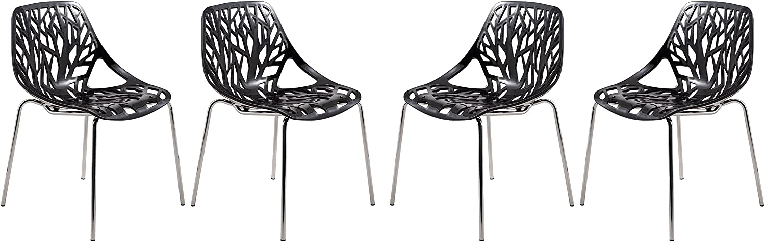 LeisureMod Modern Asbury Dining Chair with Chromed Legs, Set of 4, Black