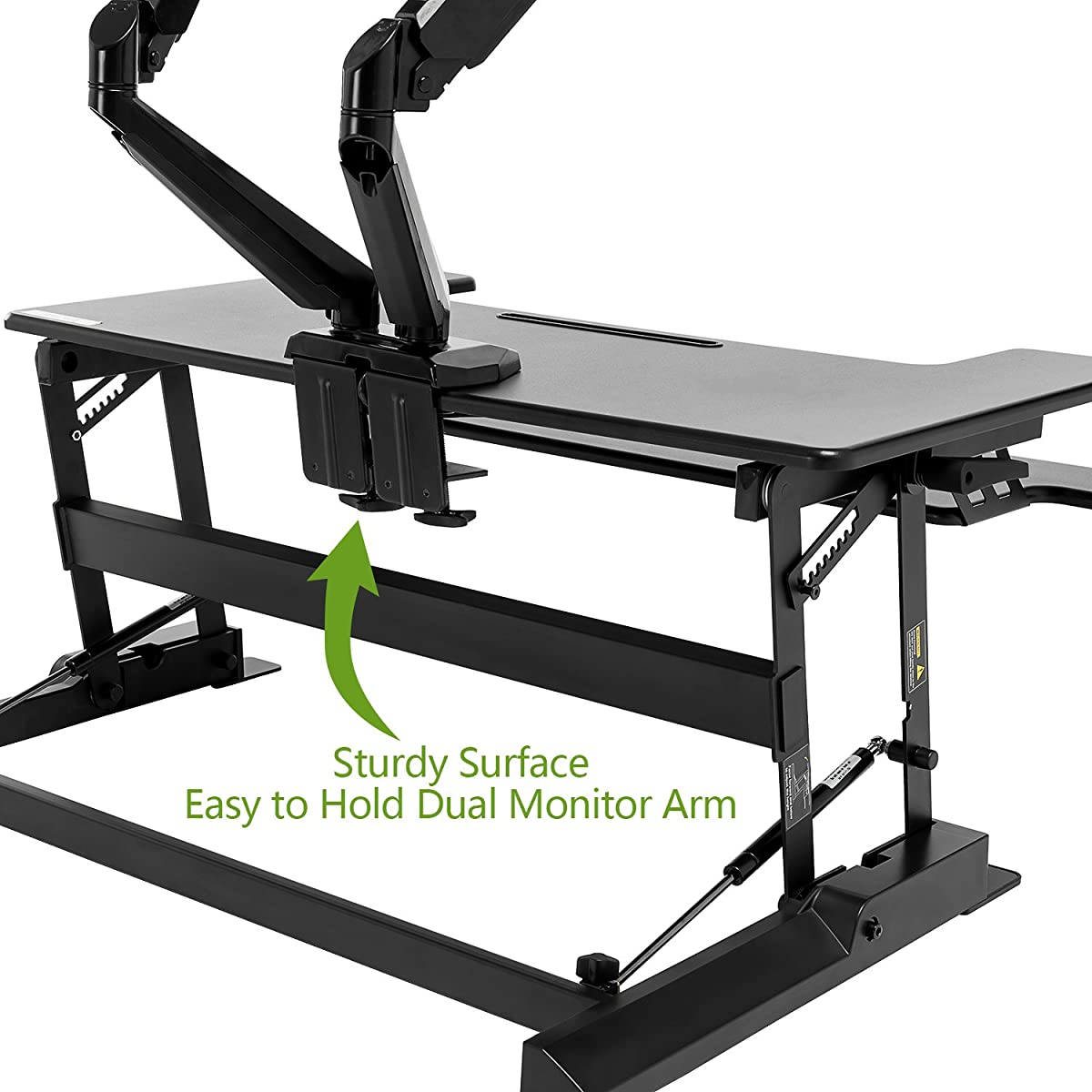 "Standing Desk Converter with Height Adjustable – FEZIBO Sit to Stand up Desk Riser 36"" Black Computer Workstation Dual Monitor Desktop Lifter"