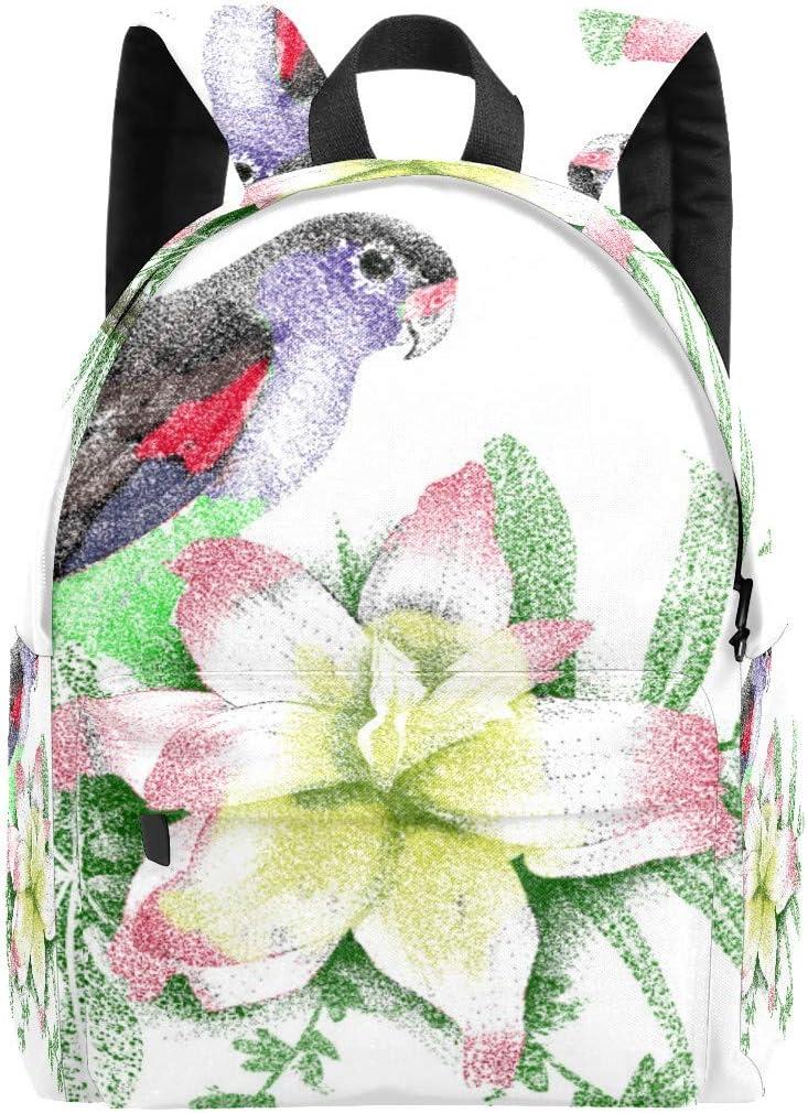IBalody Monedero, Mochila, Mochila, perfecta para alumnos, flores rosas y pájaros