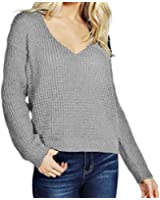 iPretty Sexy Women's Thin Long Sleeve V-Neck Knitted Jumper Loose Sweater Pullover Top