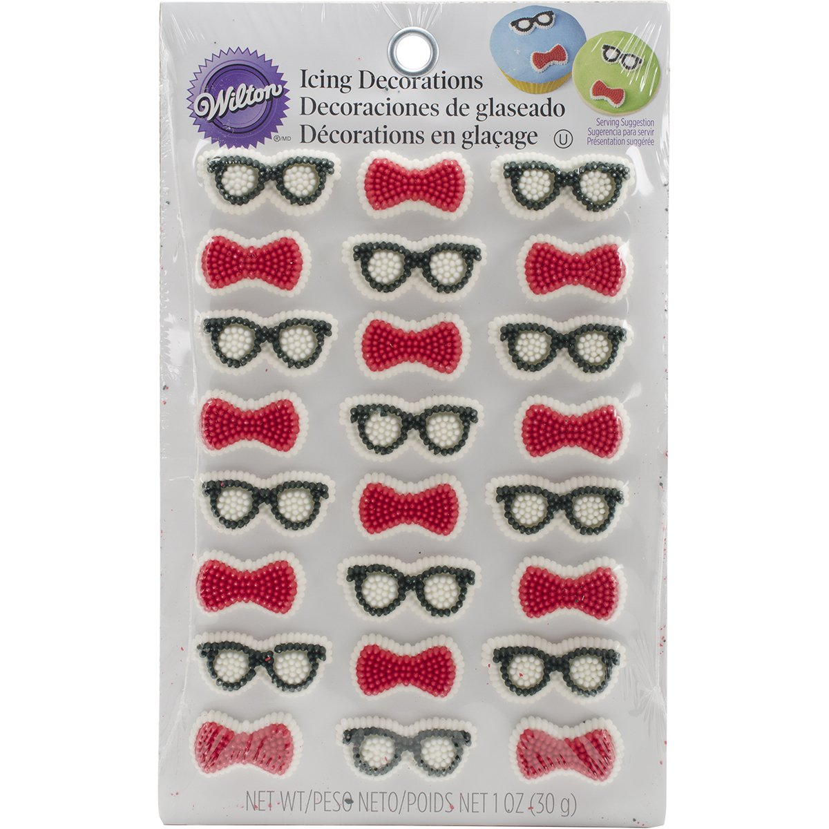 Wilton 24 Count Bow Ties and Glasses Mini Icing Decorations