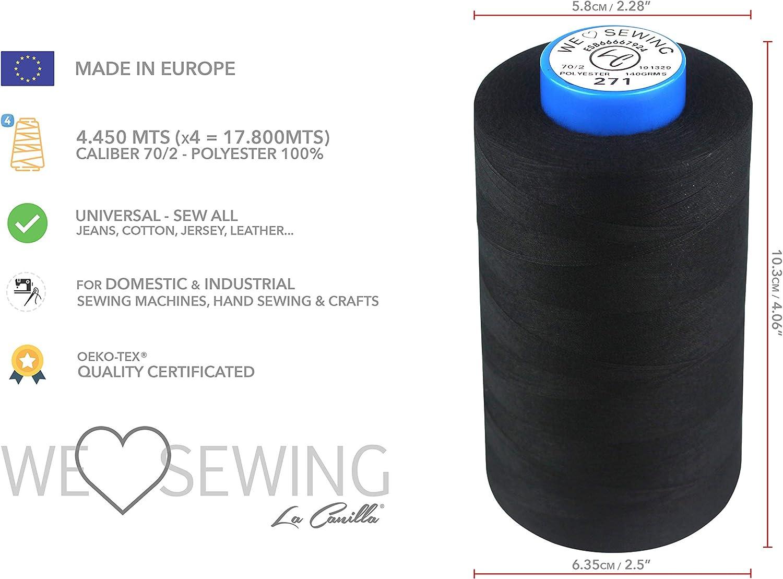 17.800mts La Canilla /® Machine /à Coudre Artisanat Polyester 100/% Lot de 4 Bobines de Fil /à Coudre NOIR pour Surjeteuse