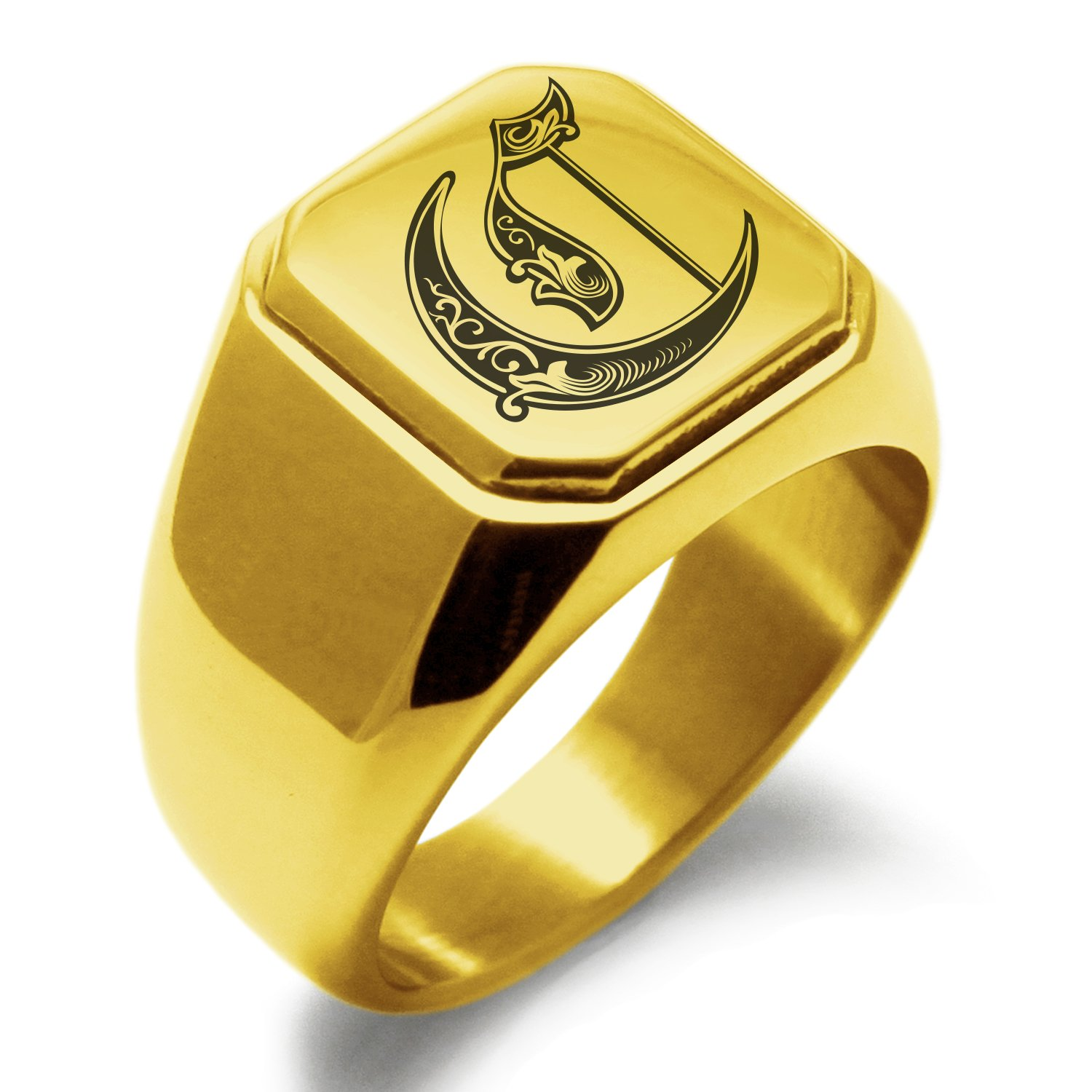 Stainless Steel Letter C Alphabet Initial Royal Monogram Engraved Square Flat Top Biker Style Polished Ring