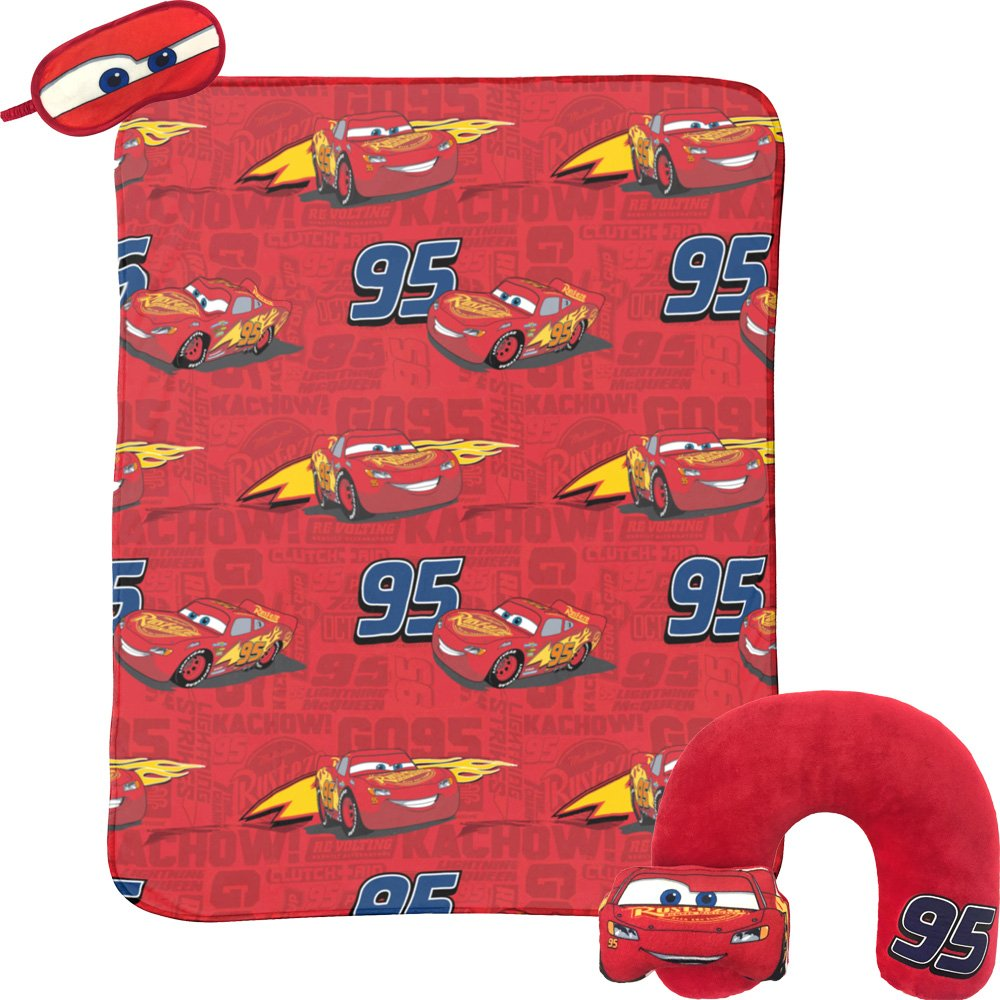 Disney Cars Lightning McQueen 3-Piece Travel Gift Set with 40'' x 50'' Throw, Neck Pillow & Eye Mask