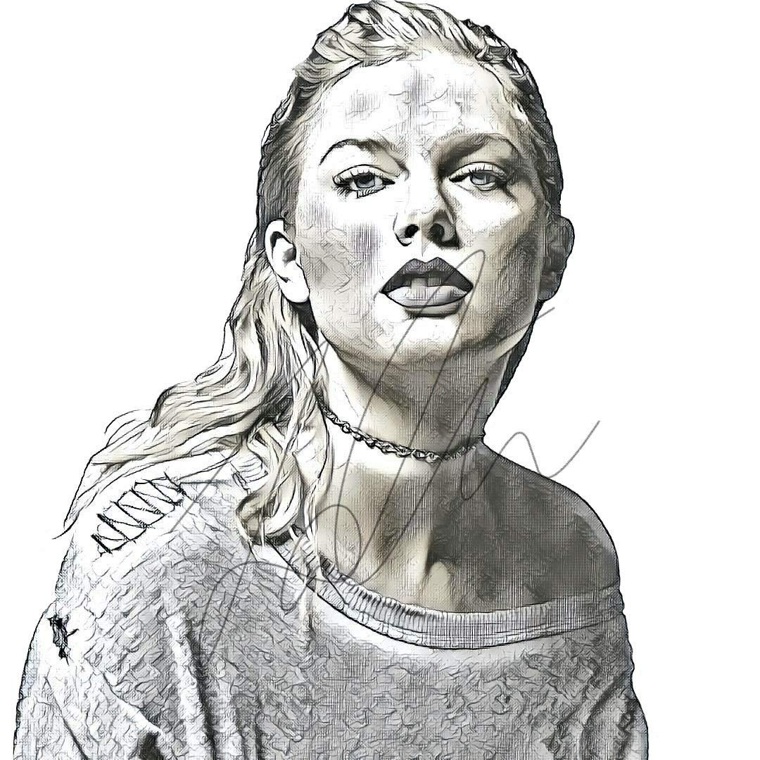 Amazon com taylor swift sketch drawing print poster hand drawn