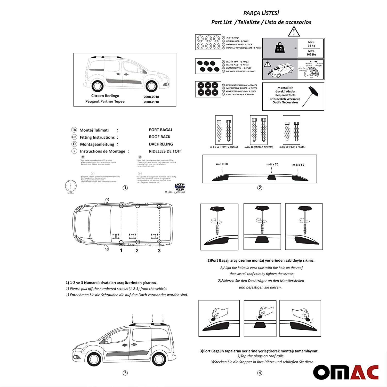 OMAC GmbH Dachreling Dachtr/äger Set f/ür Berlingo II Partner Tepee ab 2008 mit T/ÜV ABE Scwarz