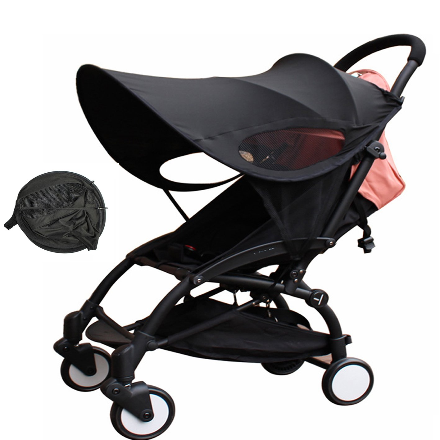 Baby Stroller Sun Ray Shade Pram UV Protection Cover, Weather Shield, Universal, Cotton LYCRAR for Infant Kids- 4 Colors,Black by YWXJY (Image #1)