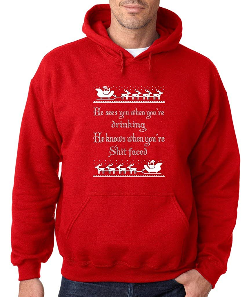 VISHTEA He Sees You When Youre Drinking T-Shirt Funny Xmas Ugly Sweater Shirts
