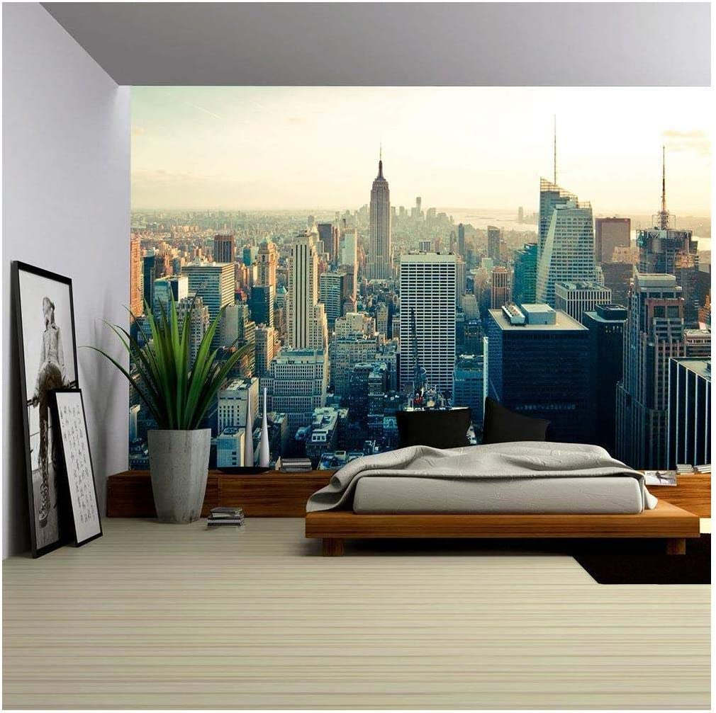 wall26 - New York City Manhattan Midtown Aerial Panorama View with Skyscrapers at Sunrise - Removable Wall Mural | Self-Adhesive Large Wallpaper - 100x144 inches