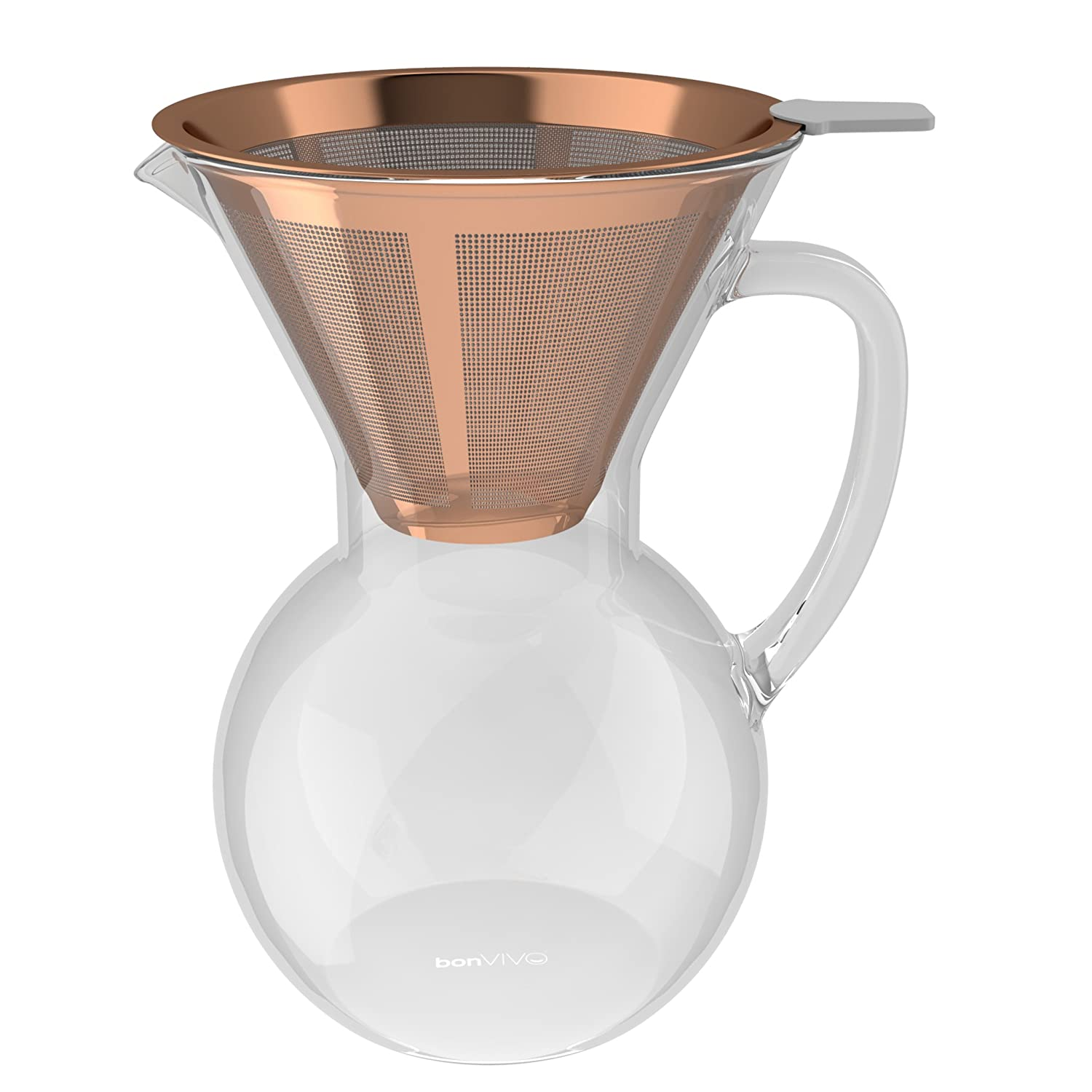 bonVIVO Aldrono Pour Over Coffee Machine, Filter Coffee Maker Reusable Coffee Filter Made Stainless Steel, Drip Coffee Maker Glass Jug Coffee Brewer Filter In Copper Finish, 500ml Bonstato