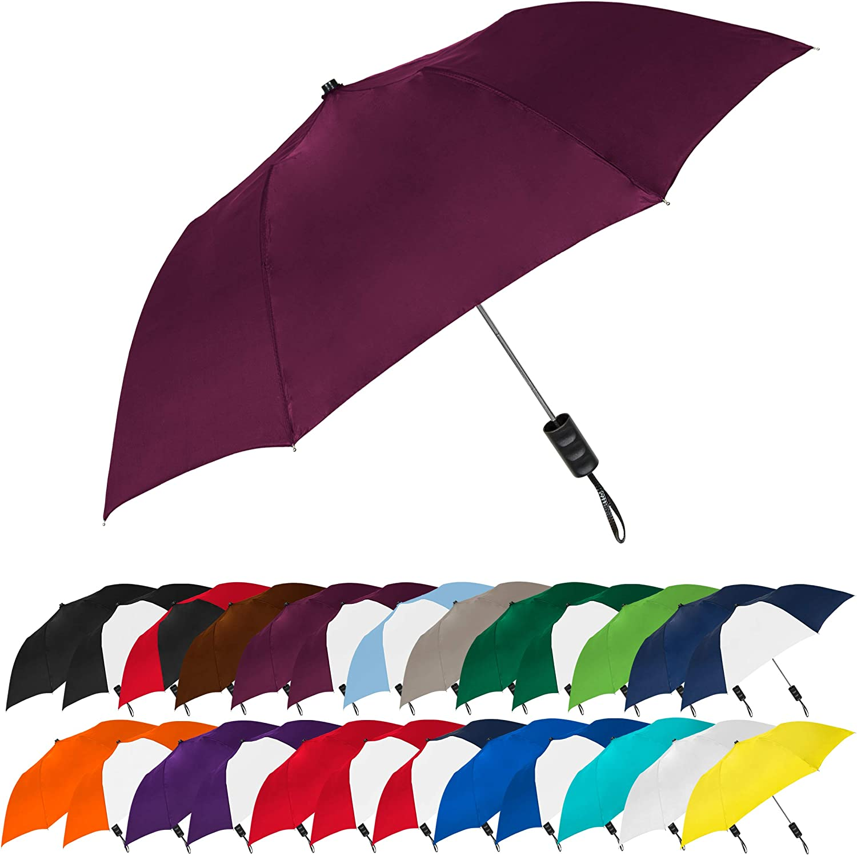 STROMBERGBRAND UMBRELLAS Spectrum Popular Style Automatic Open Close Small Light Weight Portable Compact Tiny Mini Travel Folding Umbrella for Men and Women, Burgundy