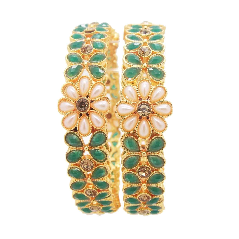 9blings Wedding Gold Plated Green Floral Pearl 2pc kada Bangle 00114-513B