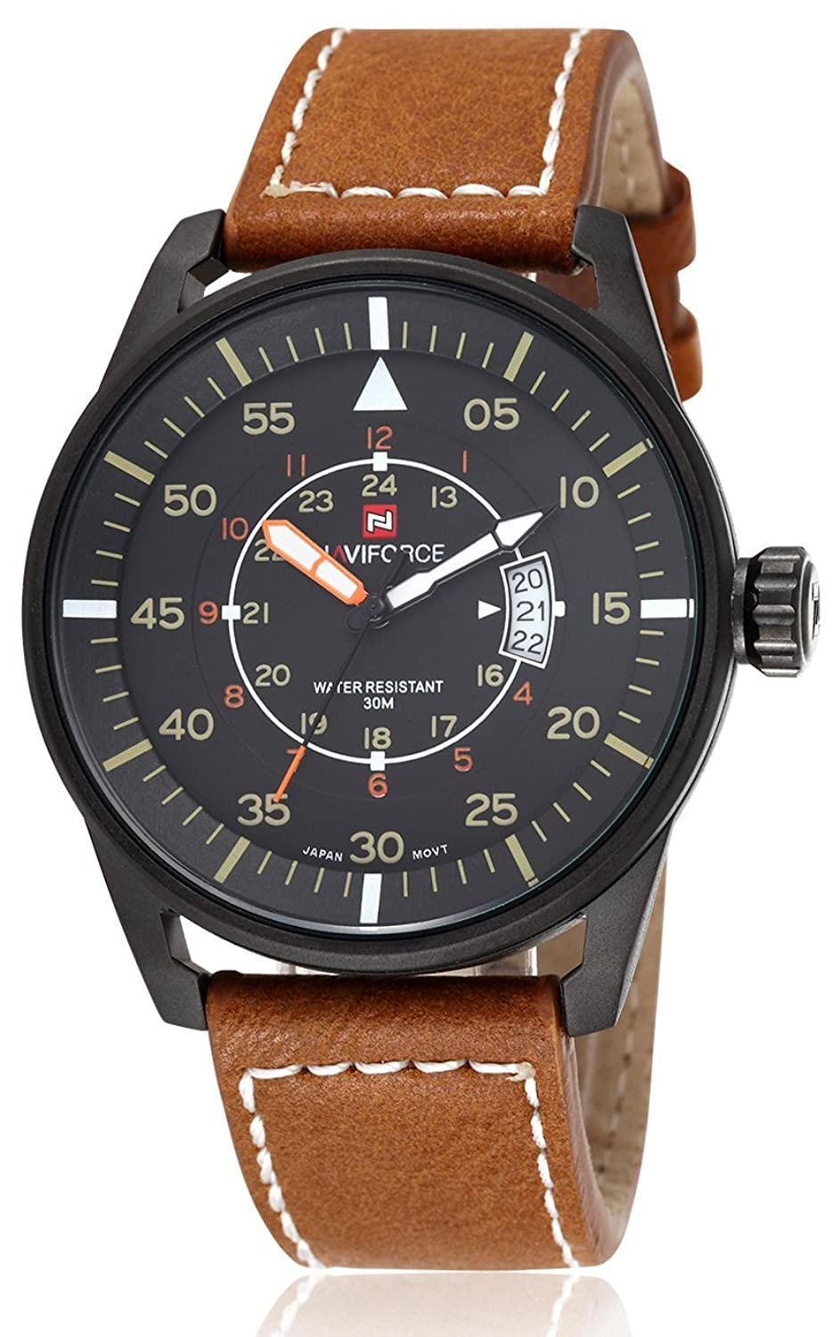 voeons mens watches luminous hands auto date brown leather strap voeons mens watches luminous hands auto date brown leather strap watch amazon co uk watches