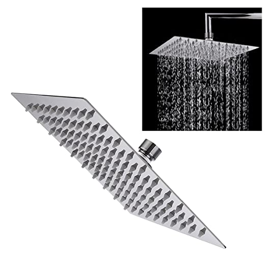 TAPCET Rain Shower Head Square Shower Head Overhead 304 Stainless Steel 8  Inches High Pressure Ultra