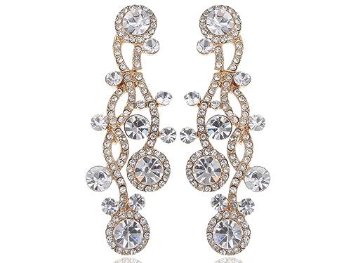 1ff56d5ce29c4 Alilang Womens Golden Tone Shine Clear Rhinestones Wavy Dangle Teardrop  Earrings
