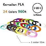 Pxmalion PLA 3D Pen Filament Refills, 1.75mm PLA Filament Pack of 24 Different Colors, 40 Feet Each, Net Weight 980gram, Includes Stencils eBook