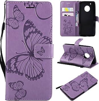 ZHENGYIXIA CASES para Carcasas y Fundas para celulares para Motorola Moto G5 Plus Flor de Mariposa Estampado de Flores PU Cartera de Cuero Estuche con Correa de muñeca (Color : Púrpura): Amazon.es: