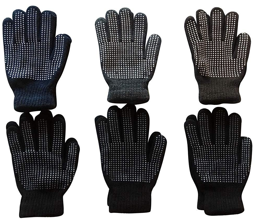 Yacht /& Smith Mens Winter Heavy Knit Rubber Gripper Gloves