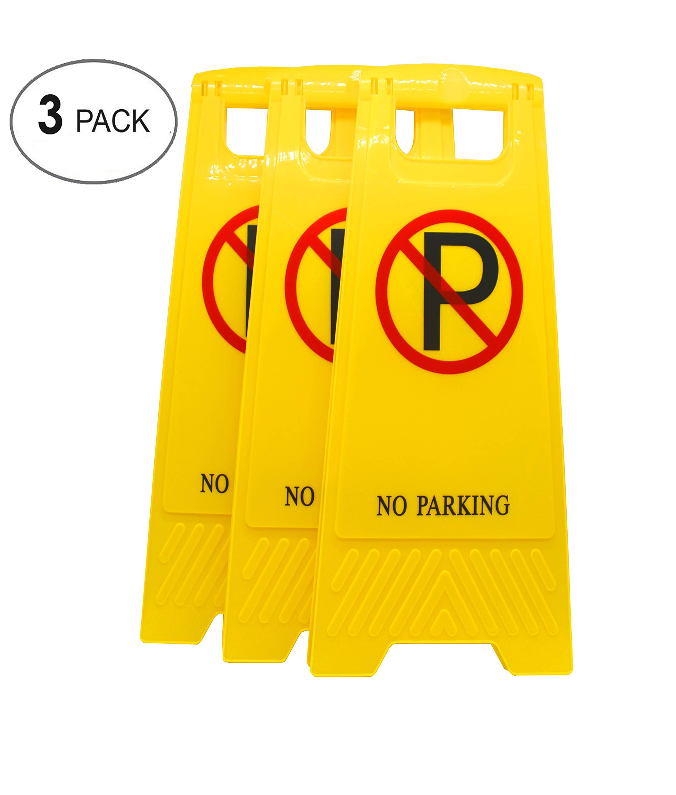 AMENITIES DEPOT (Pack of 3) 2-Sided Fold-Out Floor Safety Sign with No Parking ...