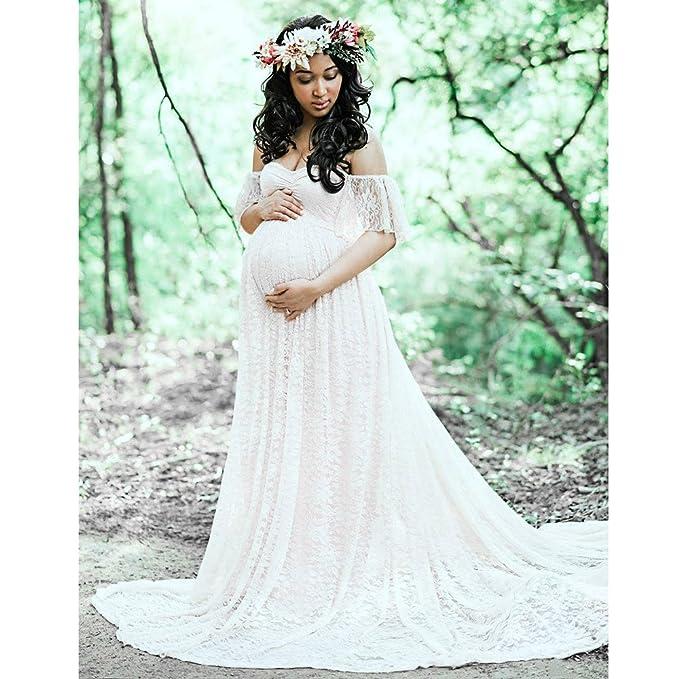 Amazon.com: Boyiya Overlay Maternity Maxi Dress Womens Floral Lace Short Sleeve Photography Fly Sleeves Off Shoulder Long Dress: Clothing