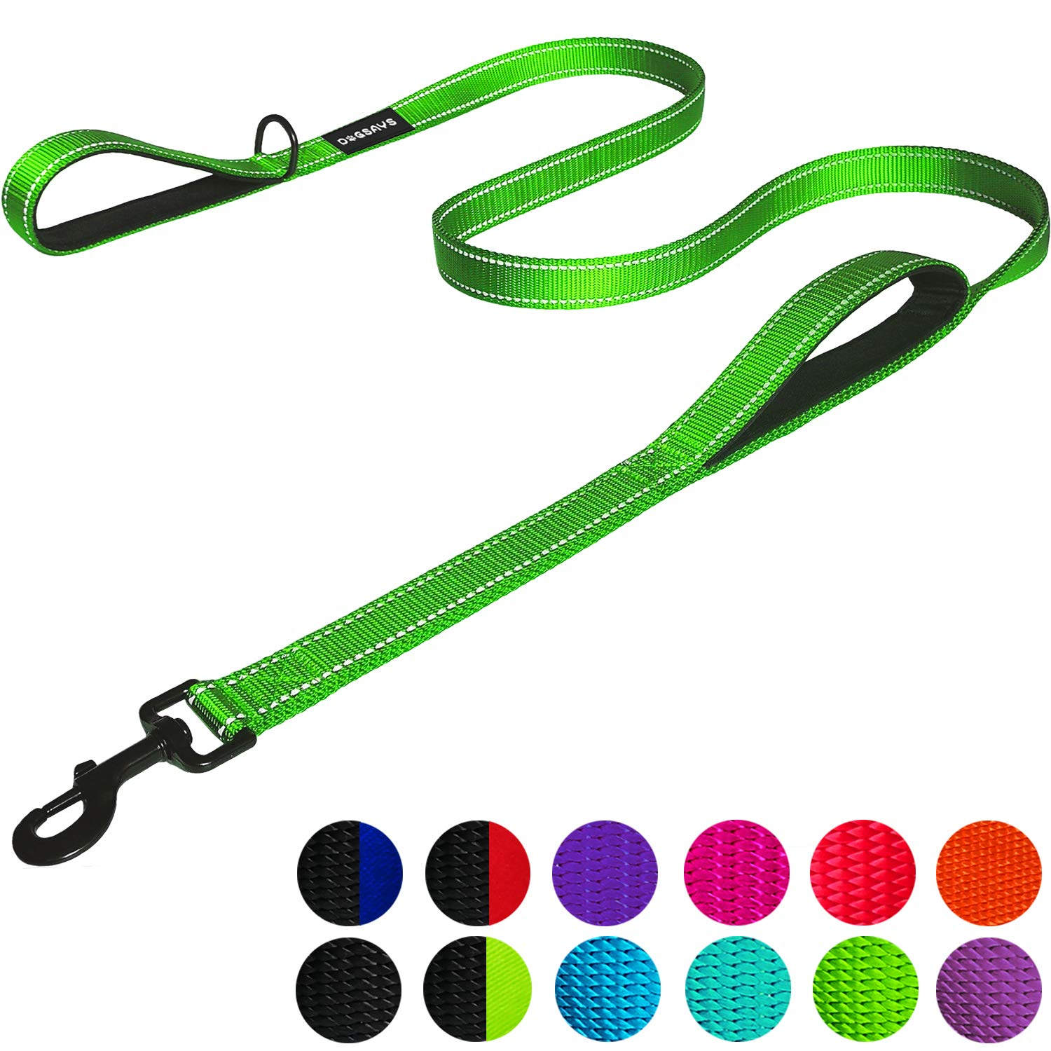 DOGSAYS Dog Leash 6ft Long – Traffic Padded Two Handle – Heavy Duty – Double Handles Lead for Training Control – 2…