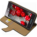 Membrane - Black Wallet Case for LG Optimus L5 II (E460) - Flip Phone Pouch Cover + 2 Screen Protectors
