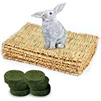 4Pack Rabbit Bunny Grass Bed Mat with 6Pcs Natural Chew Sticks Toys Seagrass for Chinchilla Woven Small Animals Straw…