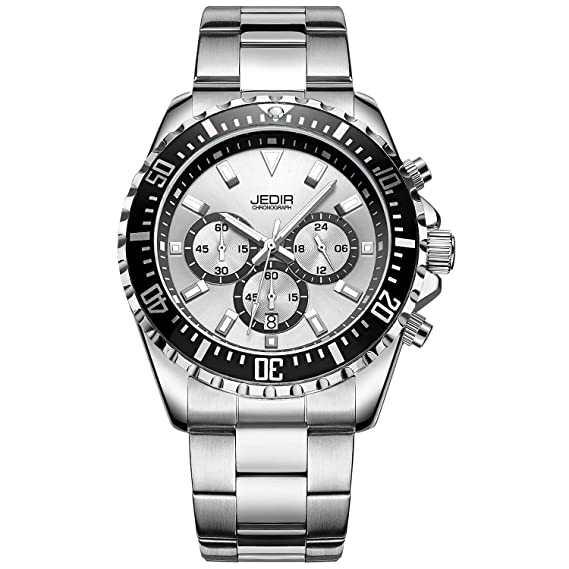 Jedir Men's Multifunction Watches Analogue Chronograph Dress Wrist Watch Quartz Display Date Stainless Steel Strap by Jedir