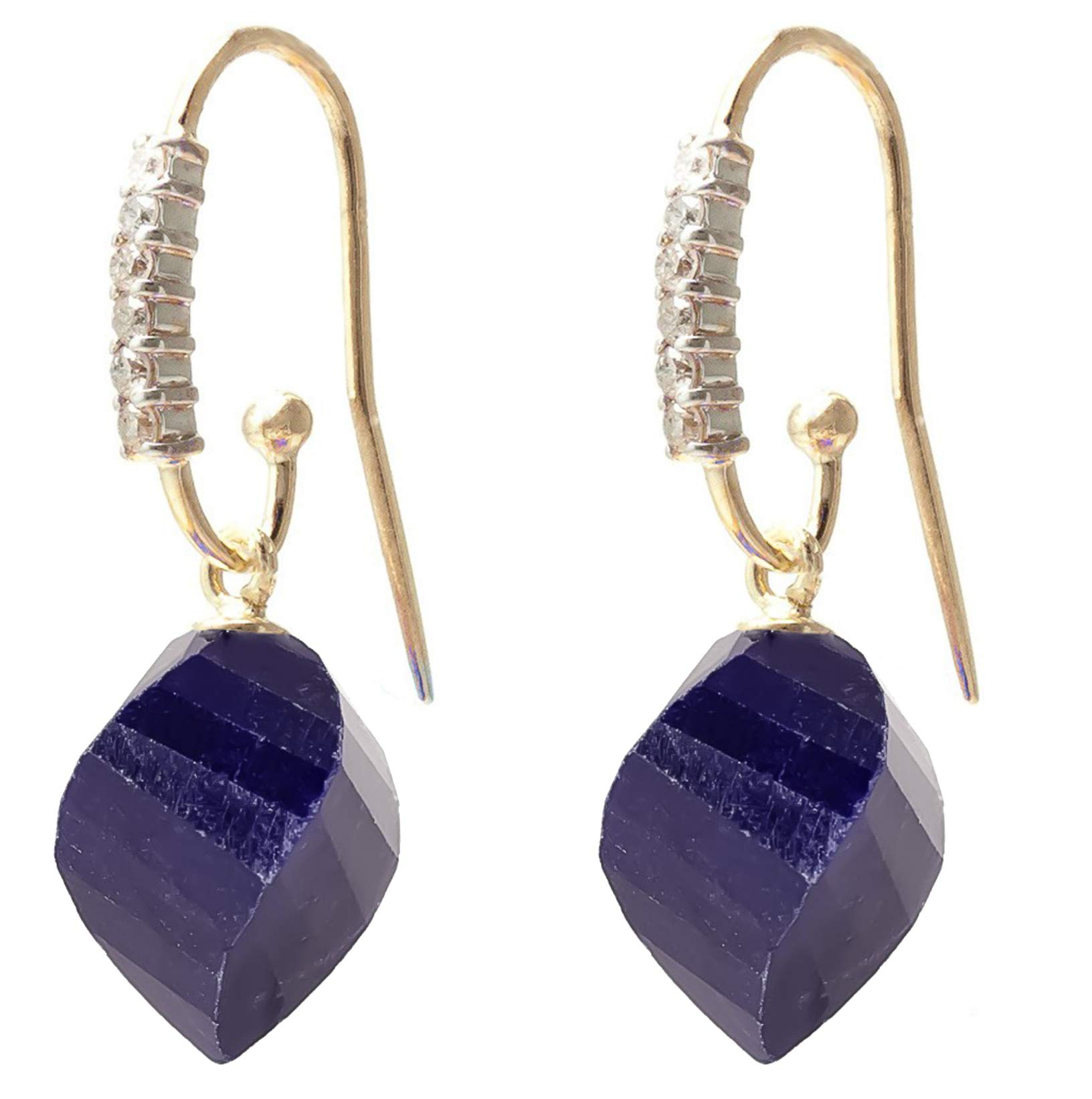 14k Yellow Gold Fish Hook Earrings with 0.18 Carat Diamonds and 30.50 Carat Twisted Briolette Sapphires