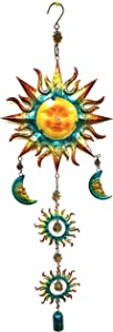 "Bejeweled Display Sun & Moon Face Stained Glass Wind Chimes & Bell 36"" H"