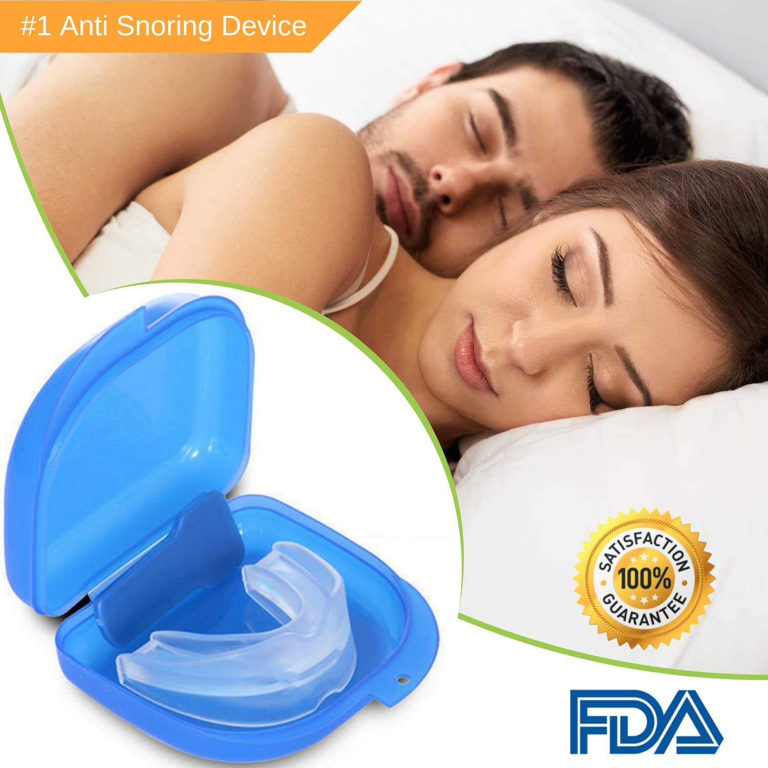 Anti Snoring Device - Snoring Solution, Stop Snoring Mouthpiece - Sleep Aid Night Mouth Guard Snore Stopper - Dental Guard for Teeth Grinding, Bruxism and Comfortable Natural Sleep