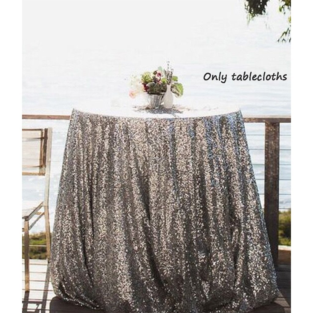 NSC Festive Party Tablecloths Wedding Sequins Sign In Dessert Table Decoration Tablecloth Hotel Layout Set Up ( Size : D=80 )