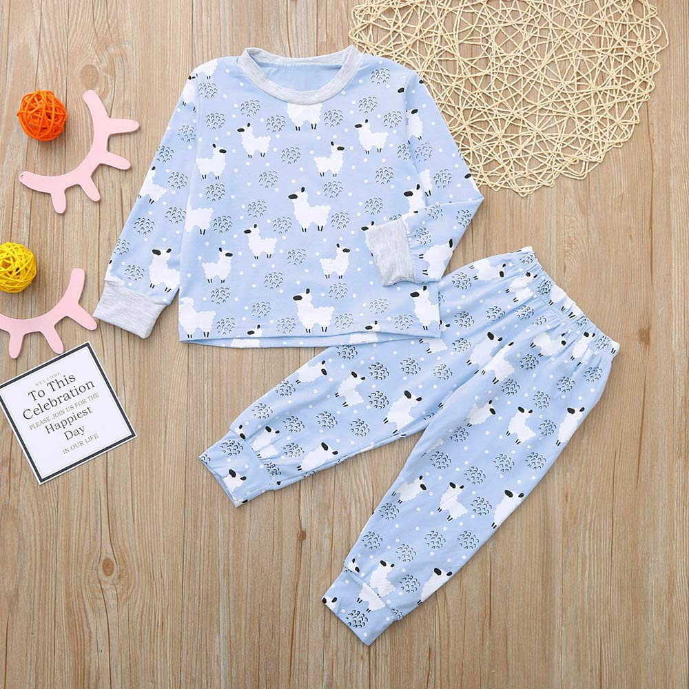 Toddler Sheep Print Warm Tops Pants Set Sleepwear for 0-4 Years Old Baby Boys Girls Pyjamas Set Two Pieces