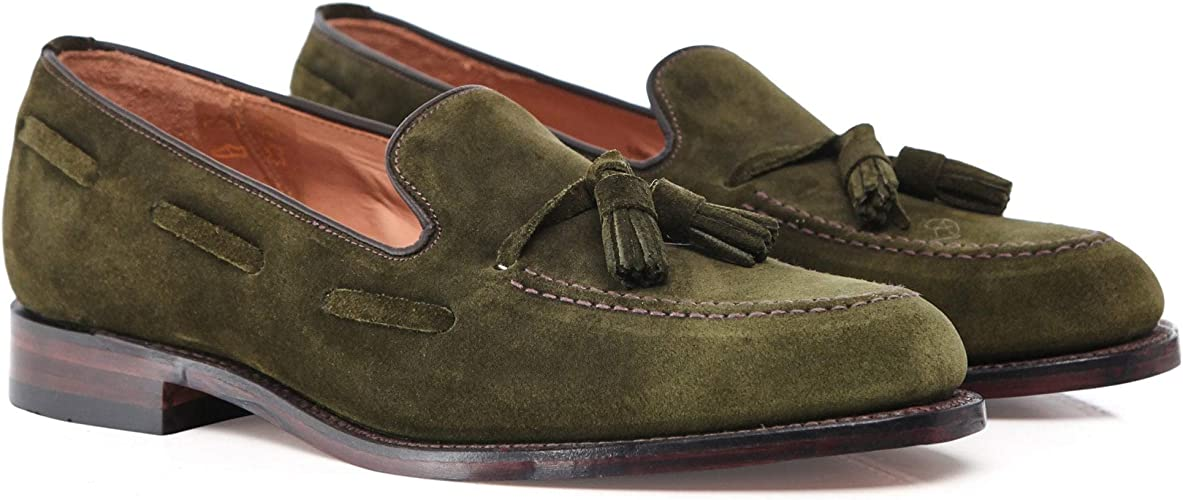 Suede Lincoln Tassel Loafers Green