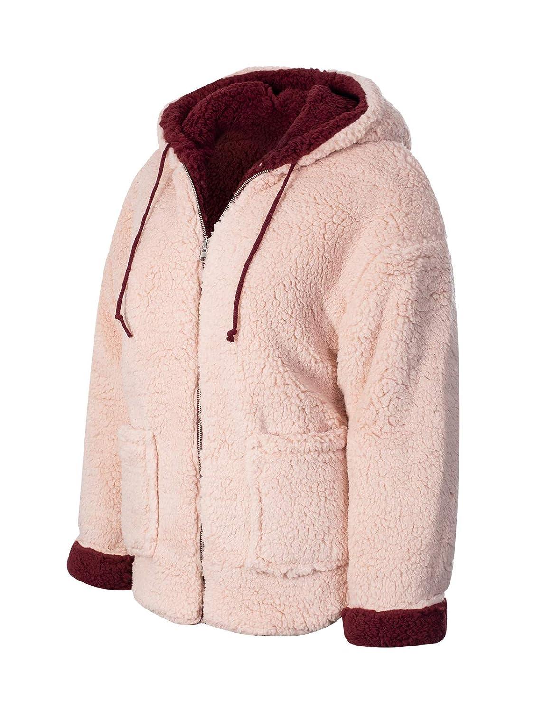 Ijkw065 bluesh Wine Instar Mode Women's Casual Warm Fluffy Faux Fur Oversized Outerwear Jacket Cardigan