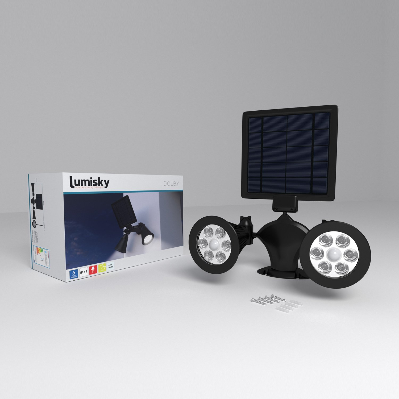 Lumisky Dolby W31 Proyector doble foco Solar 12 LED exterior impermeable luz con sensor de movimiento Sensor, plástico, integrado, 3 W, Negro, ...