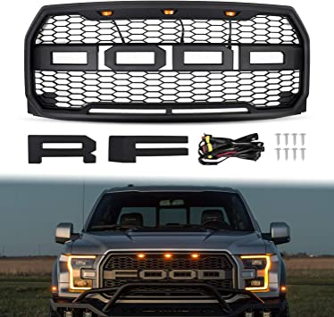 Xprite Raptor Style Grill Front Grille for 2009-2014 Ford F-150 with Three Amber Running Lights and Removable Letters F/&R