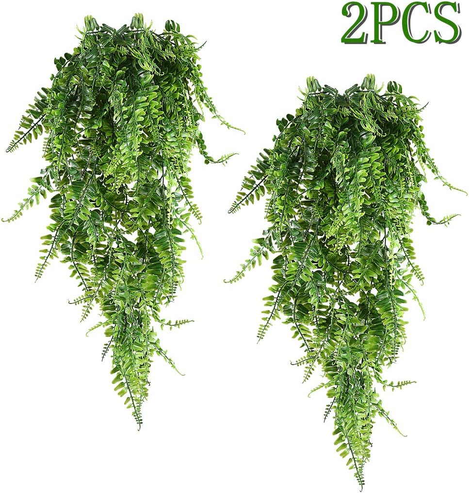 HAPLIA Artificial Plants Vines Ferns Persian Rattan Fake Plant Faux Hanging Boston Fern Flowers Vine Outdoor UV Resistant Plastic Plants for Wall Indoor Hanging Baskets Wedding Garland Decor-2 pcs