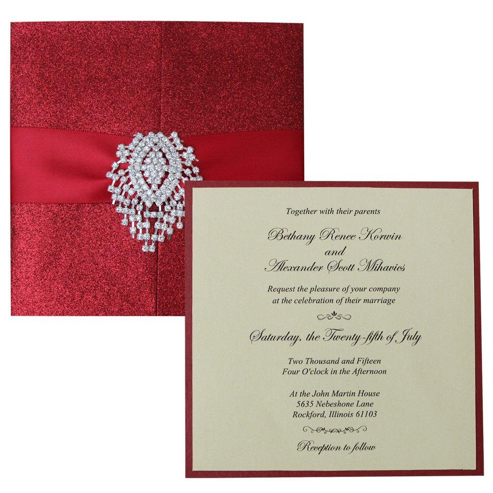 Amazon.com: Luxury Red Wedding Invitations, Sparkling Invitation ...