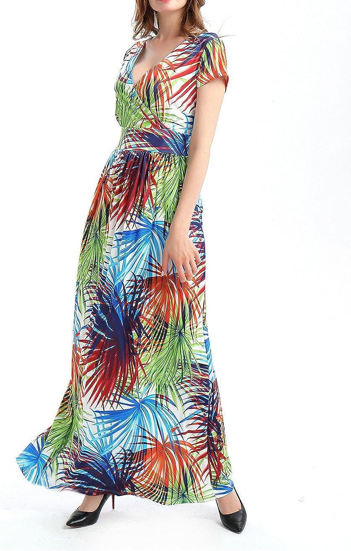 estate per vacanze spiaggia Maxi abito da donna con stampa tropicale Misschicy scollo a V stile casual