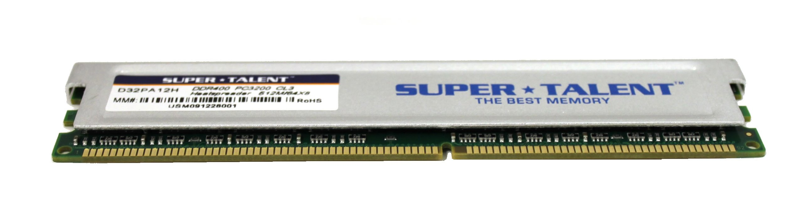 Super Talent DDR400 512MB/64X8 CL3 8CH Memory (PC and MAC G5) D32PA12H by Super Talent (Image #1)