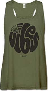 product image for Women's Good Vibes Recycled Racerback Tank Top - Long Green Organic Cotton Graphic Yoga Top - Made in The USA