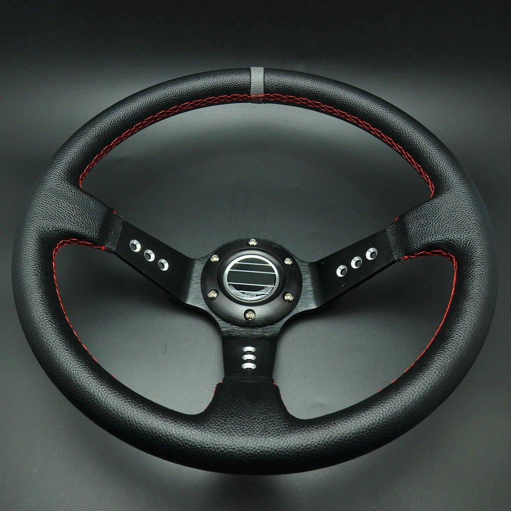 FidgetFidget Deep Dished Racing Sport Steering Wheel Leather w//Horn Button Black