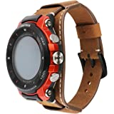 Genuine Leather Cuff Watch Band,repalcement Watch Band for Pro Trek Touchscreen Outdoor Smart Watch WSD-F30,Coffee
