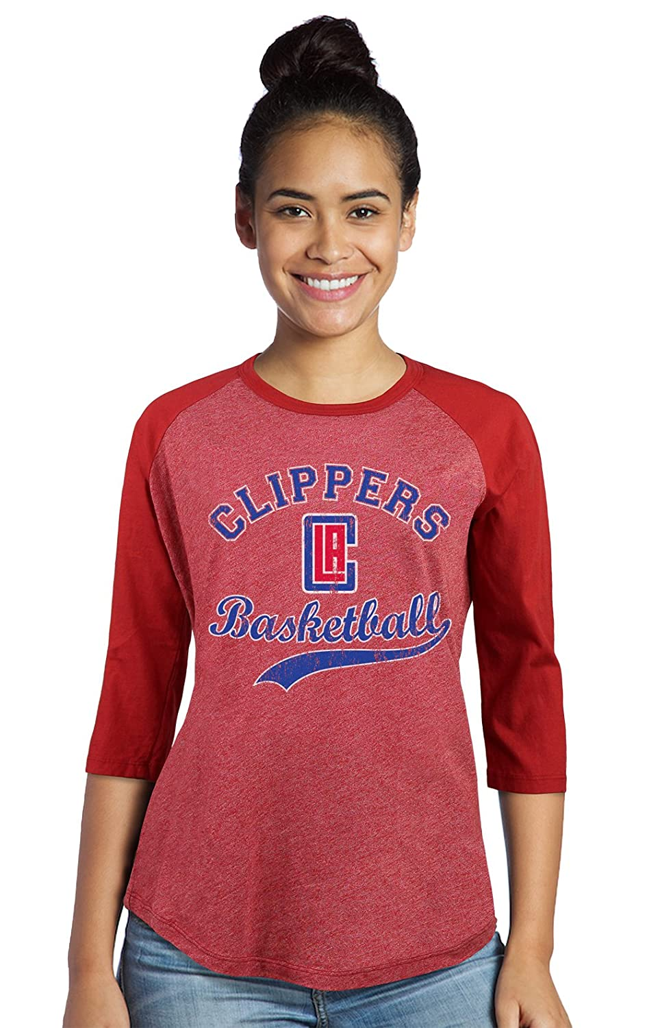 ea54960628f Amazon.com   Majestic Athletic NBA Los Angeles Clippers Women s Premium  Triblend 3 4 Sleeve Raglan