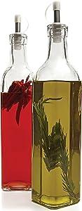 Circleware Villa Olive Oil and Vinegar Glass Dispenser Bottles, Set of 2, 16 oz, Clear