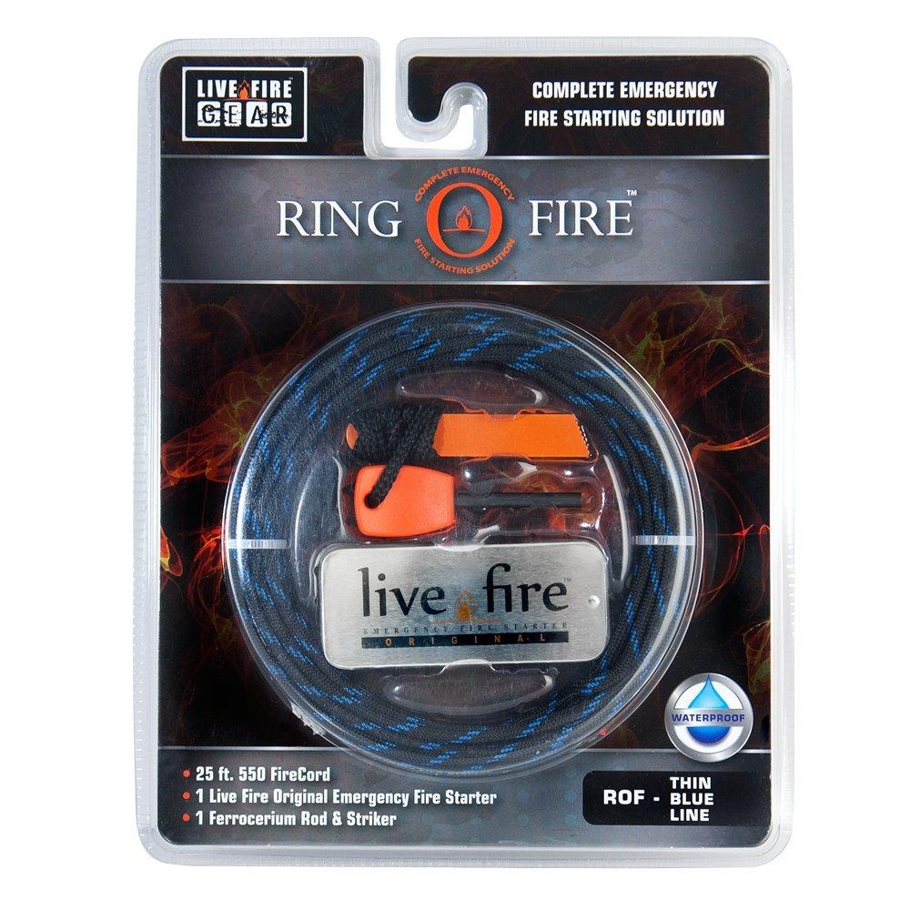 Ring O Fire by Live Fire Gear 着火糸入り550パラコード Live Fire オリジナルファイアスターター フェロセリウム棒+ストライカー B06ZZWG627 Thin Blue Line Thin Blue Line