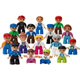 Play Build Community Figures Set - 16 Pieces - Bulk Starter Kit Includes Police Man, Farmer, Fire Fighter, Kids & More - Compatible with LEGO DUPLO (This Brand is not associated with Lego Duplo)